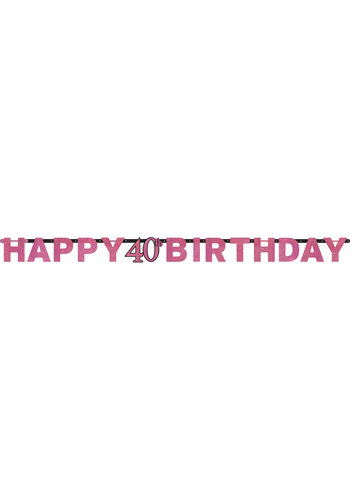 Letterbanner Happy 40th Birthday Pink&Black