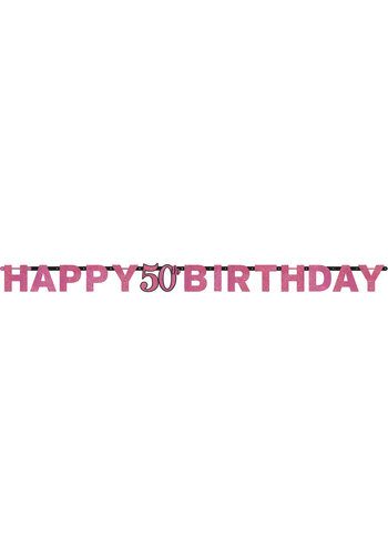 Letterbanner Happy 50th Birthday Pink&Black - 213 x 16.2 cm