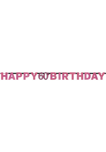 Letterbanner Happy 60th Birthday Pink&Black - 213 x 16.2 cm