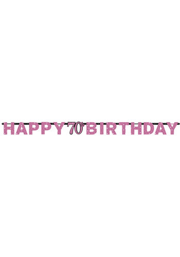 Letterbanner Happy 70th Birthday Pink&Black - 213 x 16.2 cm