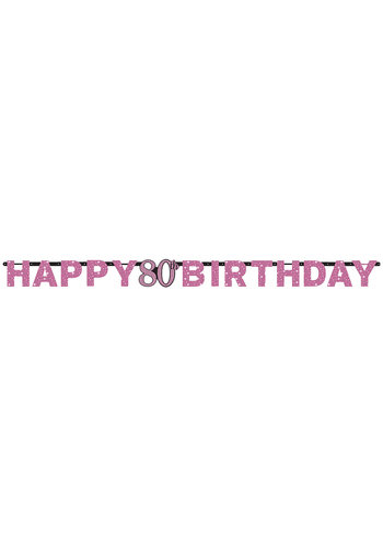 Letterbanner Happy 80th Birthday Pink&Black - 213 x 16.2 cm