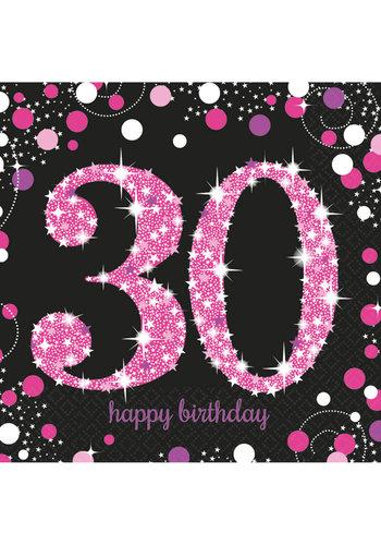 Servetten 30 Sparkling Celebration Pink&Black - 16 st - 33x33cm