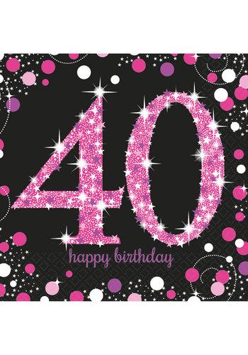 Servetten 40 Sparkling Celebration Pink&Black - 16 st - 33x33cm