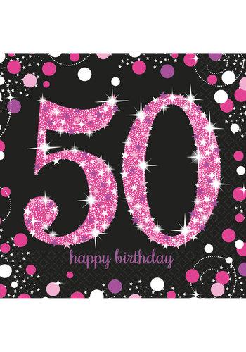 Servetten 50 Sparkling Celebration Pink&Black - 16 st - 33x33cm
