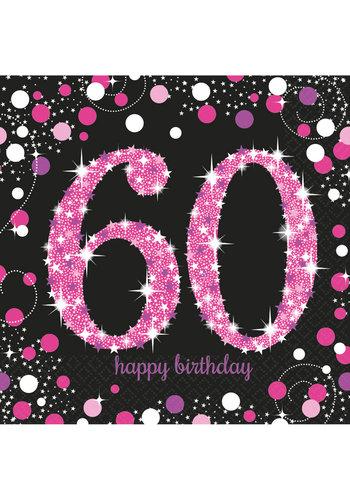 Servetten 60 Sparkling Celebration Pink&Black - 16 st - 33x33cm