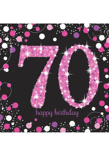 Servetten 70 Sparkling Celebration Pink&Black - 16 st - 33x33cm