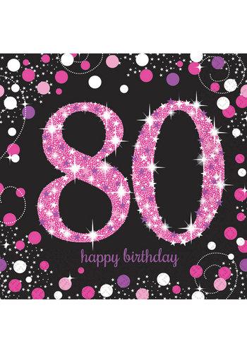 Servetten 80 Sparkling Celebration Pink&Black - 16 st - 33x33cm