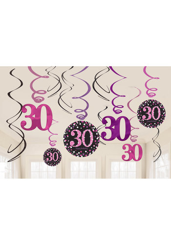 Swirl Decoration Happy Birthday 30 Pink&Black- 12 stuks