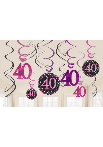 Swirl Decoration Happy Birthday 40 Pink&Black- 12 stuks