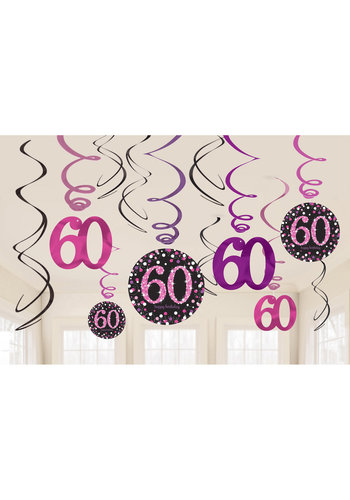 Swirl Decoration Happy Birthday 60 Pink&Black- 12 stuks