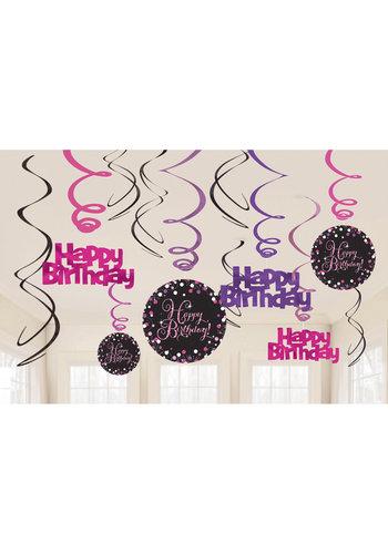 Swirl Decoration Happy Birthday Pink&Black- 12 stuks