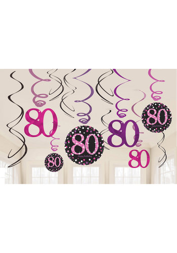 Swirl Decoration Happy Birthday 80 Pink & Black- 12 stuks