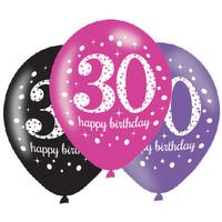 Letterbanner Happy 30th Birthday Pink & Black