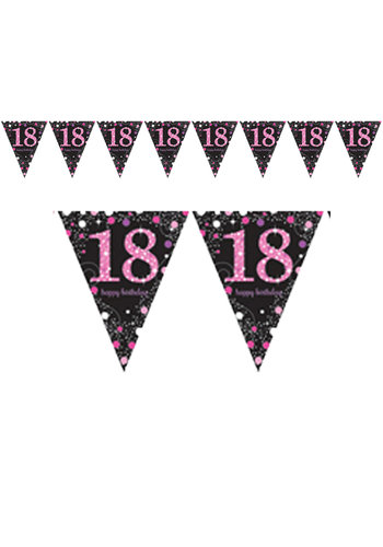 Vlaggenlijn 18 Sparkling Celebration Pink&Black - 396,2 x 21,5 cm