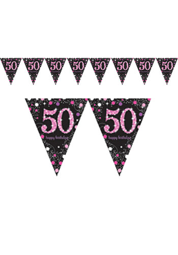 Vlaggenlijn 50 Sparkling Celebration Pink&Black - 396,2 x 21,5 cm