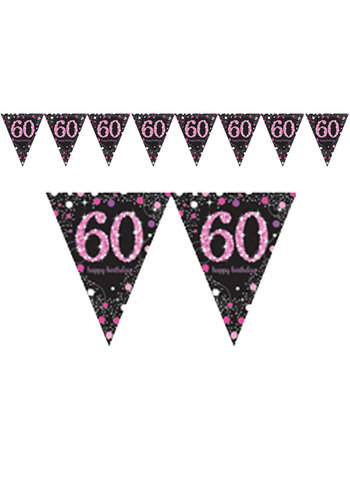 Vlaggenlijn 60 Sparkling Celebration Pink&Black - 396,2 x 21,5 cm