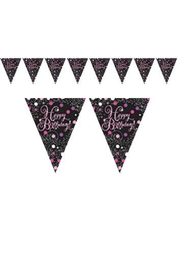 Vlaggenlijn Happy Birthday Sparkling Celebration Pink&Black - 396,2 x 21,5 cm