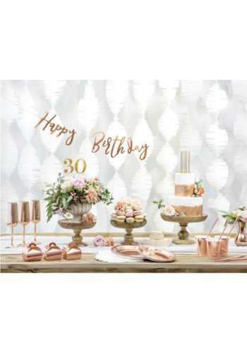 LetterBanner Happy Birthday - rosé goud - 16,5x62cm