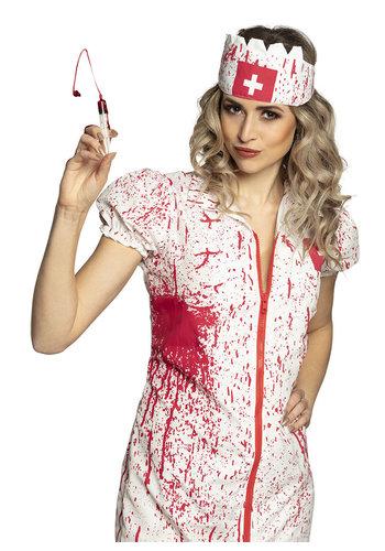 Verpleegster Horror Kit - injectiespuitje 5 ml en flesje bloed 28 ml