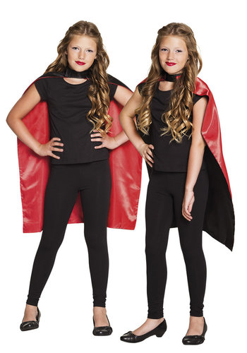 Kindercape Sundown zwart/rood omkeerbaar - 90cm
