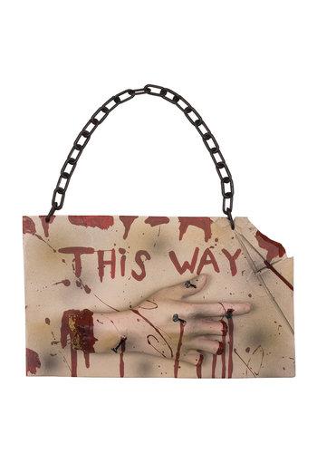 Horror wegwijzer 'This way' - 19x31cm