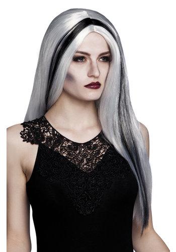 Pruik Heks Aurora grijs/zwarte streep