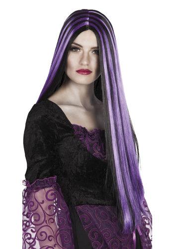 Pruik Heks Iona zwart/paarse strepen