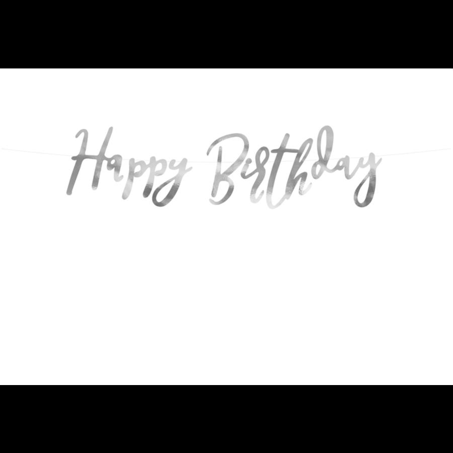LetterBanner Happy Birthday - Zilver-4