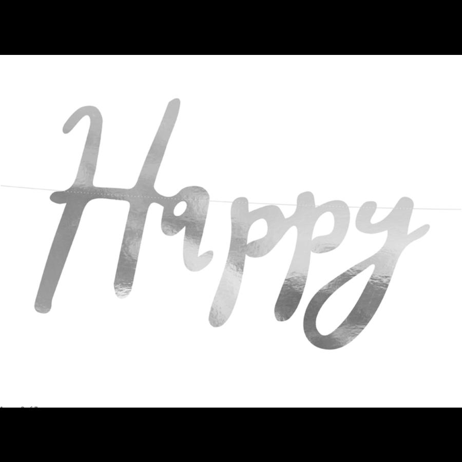 LetterBanner Happy Birthday - Zilver-5