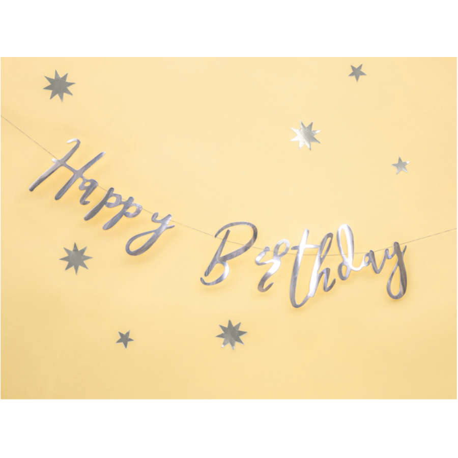 LetterBanner Happy Birthday - Zilver-3