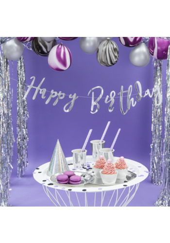 LetterBanner Happy Birthday - Zilver - 16,5x62cm