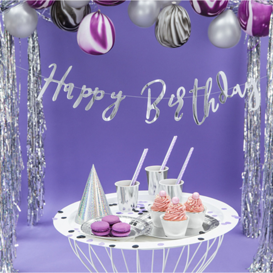 LetterBanner Happy Birthday - Zilver-1