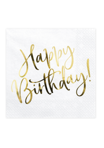 Servetten Happy Birthday Gold - 33x33cm - 20 stuks