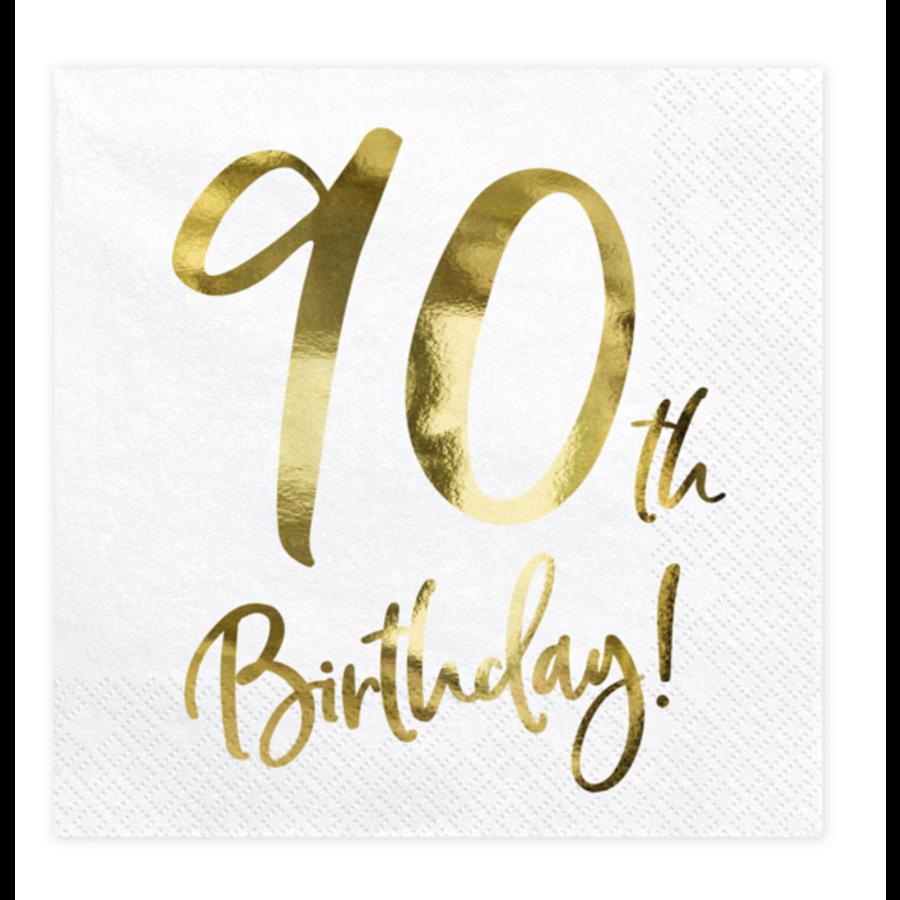 Servetten 90th Birthday - 33x33cm - 20 stuks-2