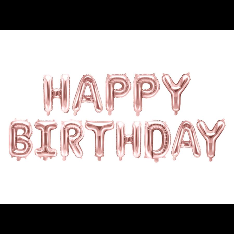 Folieballon Happy Birthday - rose goud - 340x35cm-2