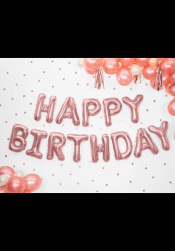Folieballon Happy Birthday - rose goud - 340x35cm