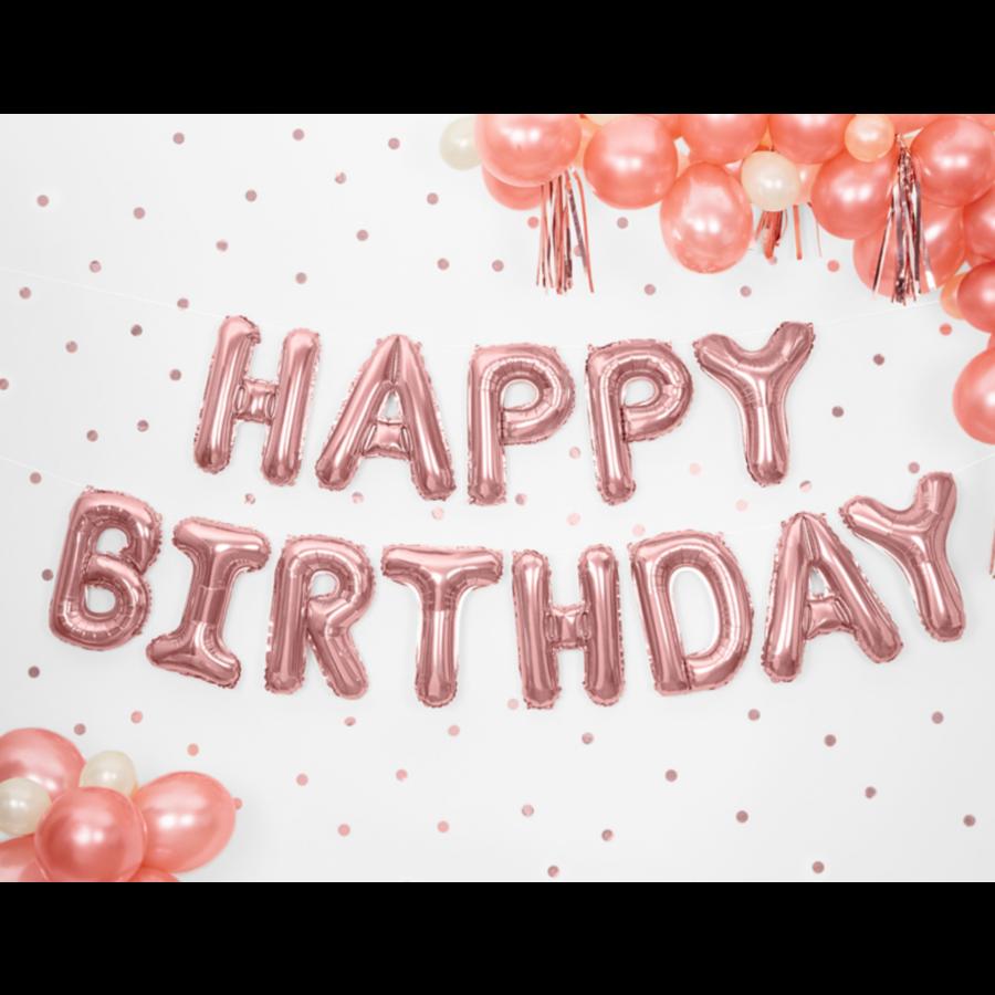 Folieballon Happy Birthday - rose goud - 340x35cm-1