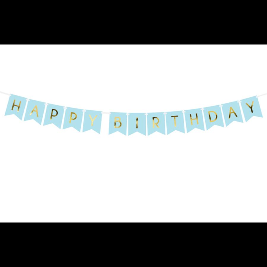 Banner Happy Birthday - lichtblauw - 15x175cm-2