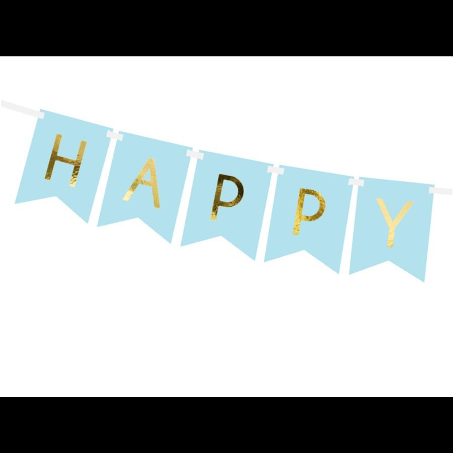 Banner Happy Birthday - lichtblauw - 15x175cm-3