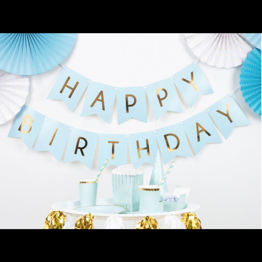 Banner Happy Birthday - lichtblauw - 15x175cm-1
