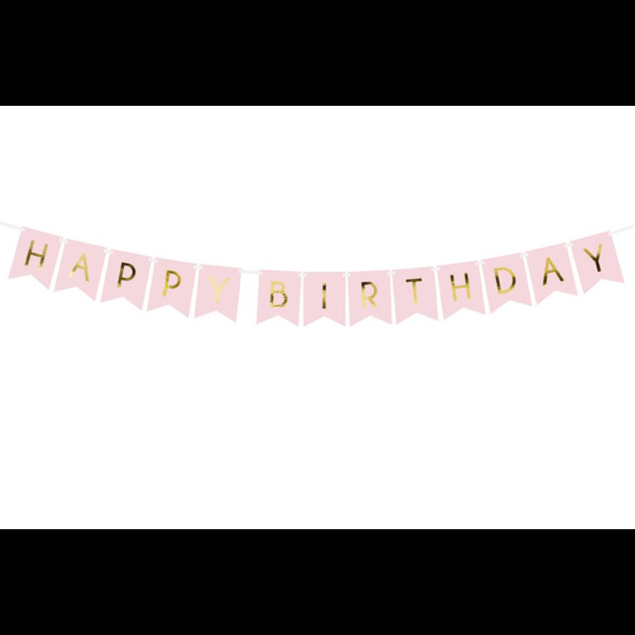 Banner Happy Birthday - lichtroze - 15x175cm-2