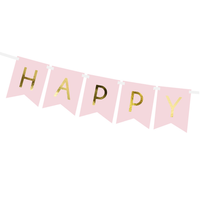 thumb-Banner Happy Birthday - lichtroze - 15x175cm-3