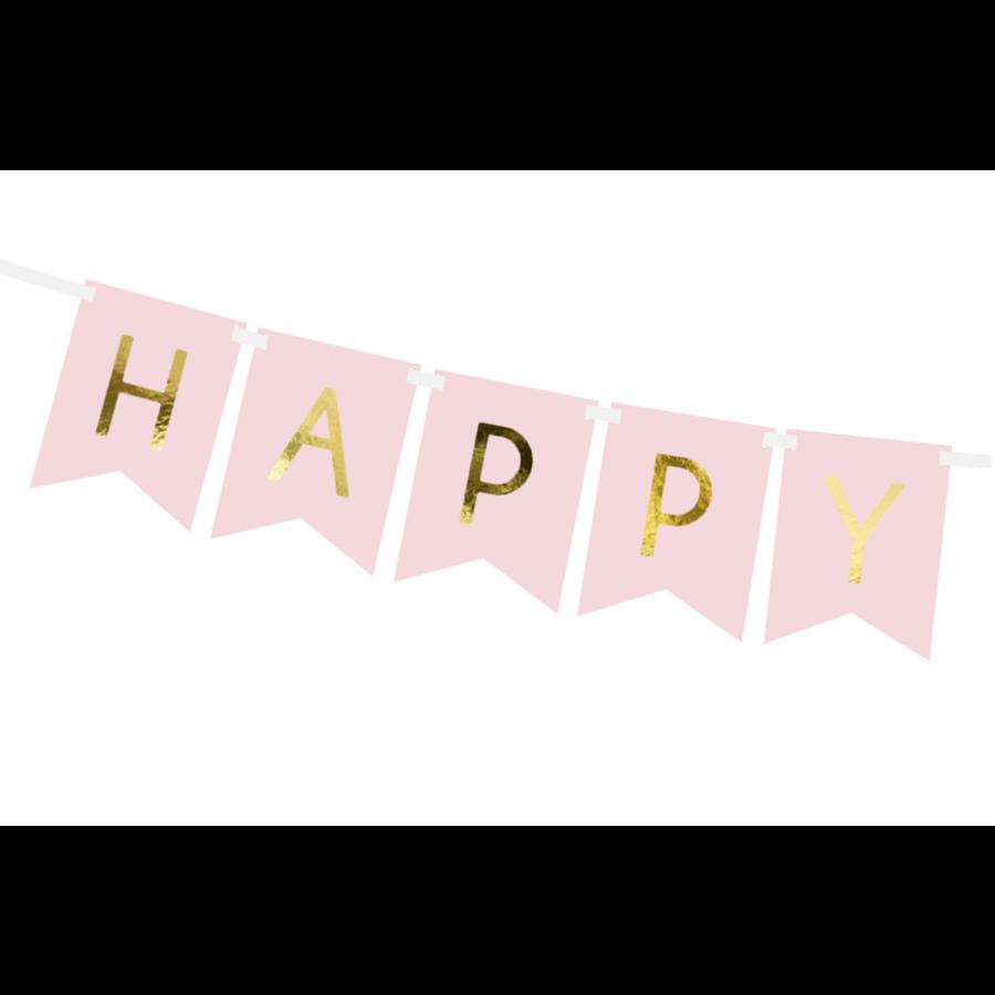 Banner Happy Birthday - lichtroze - 15x175cm-3