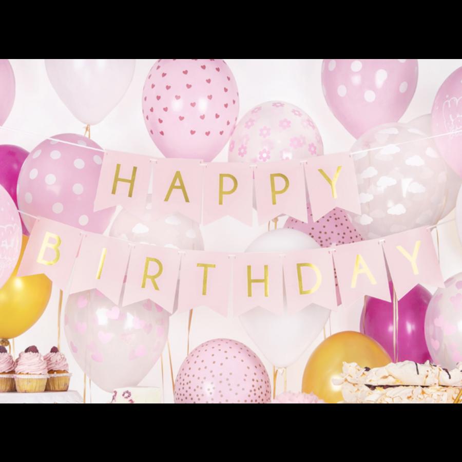 Banner Happy Birthday - lichtroze - 15x175cm-1