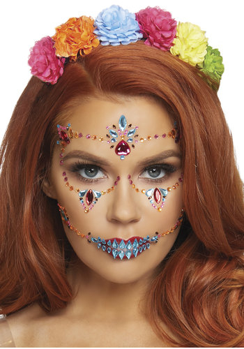 Gezicht juwelen sticker Day of the Dead