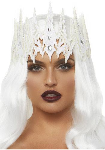 Glitter gestanste juwelenkroon - Wit