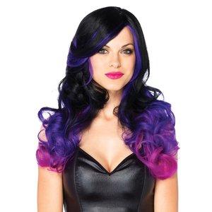 Leg Avenue Allure Multi Color Pruik - black & purple