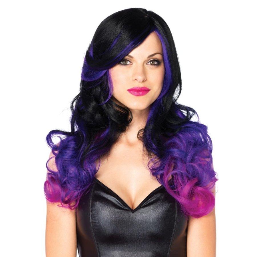 Allure Multi Color Pruik - black & purple-1