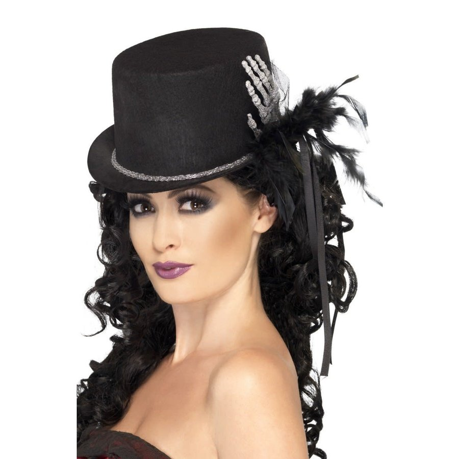 Top Hat, Black - with Skeleton Hand & Feathers-1