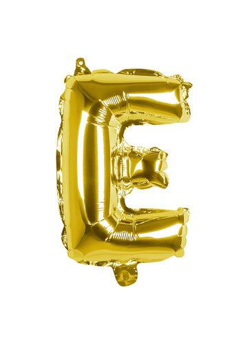Folieballon E goud - lucht gevuld - 36 cm